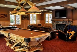 Country Game Room with Leather sofa, The refuge lifestyle natural wood pool table #1, Exposed beam, Wainscoting, Carpet
