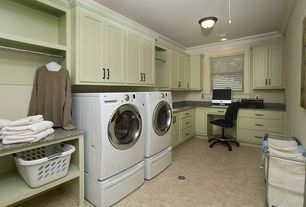 Traditional Laundry Room with can lights, Hanging Bar, Built-in bookshelf, Crown molding, drop-in sink, Concrete floors
