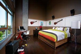 Contemporary Kids Bedroom with High ceiling, no bedroom feature, Desk, picture window, Striped bedding, Floor lamp, Paint