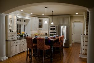Traditional Kitchen with Crown molding, Flat panel cabinets, L-shaped, Pendant light, Ms international angola black granite