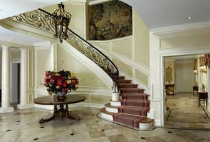 Traditional Staircase with Hardwood floors, Wainscotting, Crown molding, High ceiling