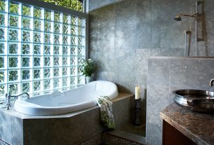 Master Bathroom with Concrete tile , Strata Stones Very Berry Pebble Tile, Daltile Decora Glass Block, Master bathroom