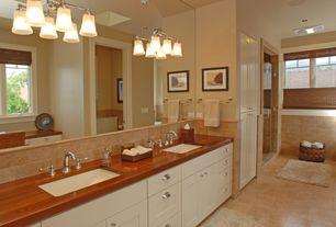 Craftsman Master Bathroom with partial backsplash, European Cabinets, Standard height, Undermount sink, Casement, can lights