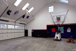 Traditional Home Gym with Pella Encompass 6 Solid Panel Entry Door, Concrete floors, Cathedral ceiling, Skylight