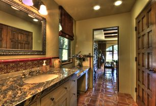 Eclectic Full Bathroom with Winstead Cabinet Door Style By Aristokraft, Complex marble counters, Mexican tile, specialty door