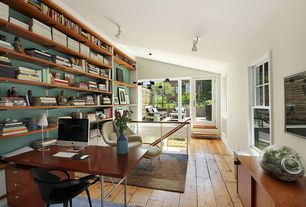Contemporary Home Office with Built-in bookshelf, Chandelier, French doors, Standard height, picture window, flush light