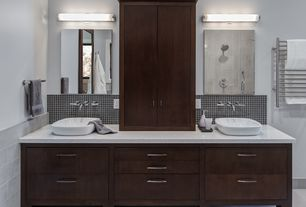 Contemporary Master Bathroom with Double sink, stone tile floors, Casement, Master bathroom, Simple granite counters, Flush