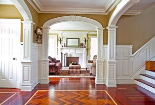 Traditional Entryway with Wainscotting, Sunken living room, Crown molding, Hardwood floors, Paint, Standard height