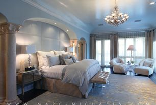 Traditional Master Bedroom with Paneled wall, Paint 2, Laminate floors, French doors, Crown molding, can lights, Columns
