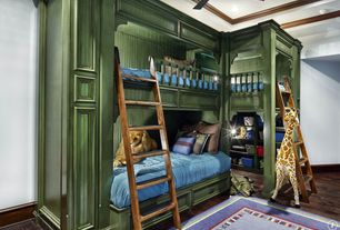 Traditional Kids Bedroom with Standard height, Bunk beds, can lights, Crown molding, Ceiling fan, Built-in bookshelf