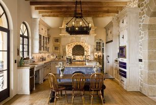 Country Kitchen with Breakfast nook, Designers Fountain Alhambra 6 Light Chandelier, Glass panel door, Paint 1, Exposed beam