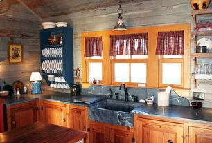 Country Kitchen with Raised panel, Soapstone counters, Inset cabinets, Kitchen island, Farmhouse sink, High ceiling, L-shaped