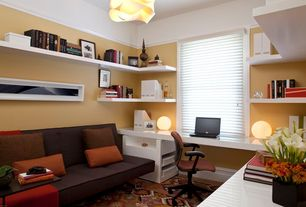 Modern Home Office with Crown molding, Gold sparrow jacksonville convertible sofa, Carpet, Chandelier, Paint, Standard height