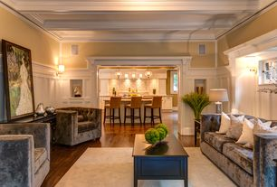 Traditional Living Room with Box ceiling, Crown molding, High ceiling, Wainscotting, Wall sconce, Hood Pendant