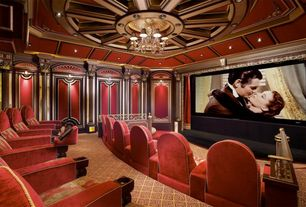 Traditional Home Theater with Box ceiling, Crown molding, interior wallpaper, Carpet, Chandelier
