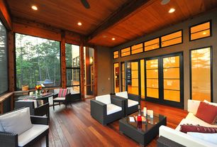 Contemporary Porch with Screened porch, Outdoor kitchen, Transom window