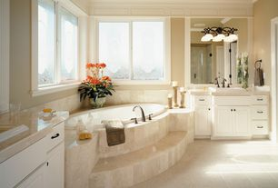 Traditional Master Bathroom with Master bathroom, Crown molding, Inset cabinets, Raised panel, Custom etching window