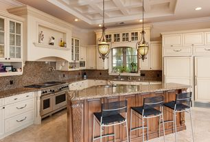 "Traditional Kitchen with Wolf 48"" gas range - 6 burners, infrared griddle, Glass panel, Raised panel, Crown molding, Flush"