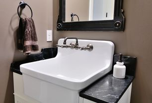 Country 3/4 Bathroom with Pental Soapstone Select Satin Slab, Inset cabinets, Farmhouse sink, Flat panel cabinets