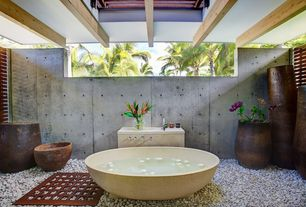 "Asian Master Bathroom with quartz tile floors, 74"" x 41"" DVontz Freestanding Custom Stone Bathtub, High ceiling, Freestanding"