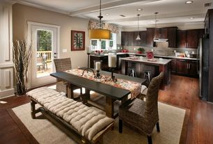 Traditional Dining Room with French doors, Hardwood floors, Pendant light, Standard height, Box ceiling