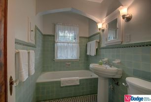 Traditional 3/4 Bathroom with Hampton Bay - 1-Light Brushed Nickel Sconce, Pedestal sink, Flush, European Cabinets