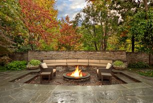 Contemporary Patio with exterior stone floors, Fire pit, Pathway, Fence