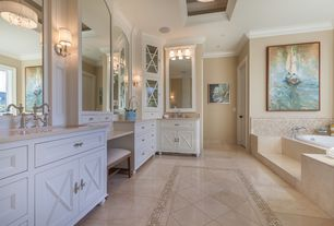 Traditional Master Bathroom with Glass panel, Ceramic Tile, flush light, Undermount sink, Flat panel cabinets, specialty door