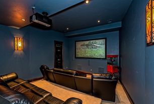 Home Theater with can lights, Wall sconce, Exposed beam, Paint, Built-in bookshelf, High ceiling, Carpet, interior wallpaper