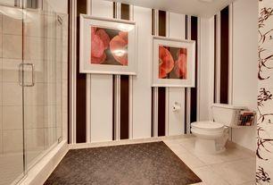 Contemporary 3/4 Bathroom with three quarter bath, frameless showerdoor, stone tile floors, Wall Tiles, Shower, flush light