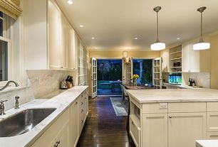 Traditional Kitchen with full backsplash, Complex marble counters, French doors, Flat panel cabinets, Flush, can lights