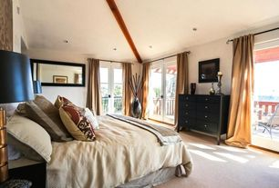 Contemporary Master Bedroom with Carpet, Exposed beam, French doors