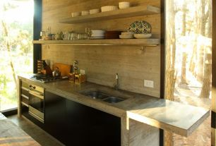 Rustic Kitchen with Flush, European Cabinets, Raised panel, Undermount sink, Standard height, electric cooktop, Wood counters