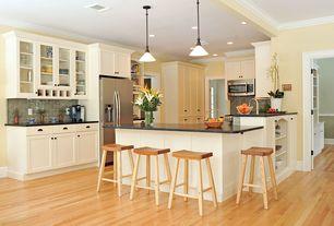 Modern Kitchen with Pendant light, Flush, Soapstone counters, Flat panel cabinets, Glass panel, Undermount sink, Subway Tile
