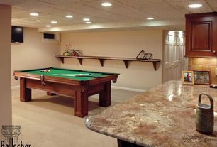 Traditional Basement with Aramith Super Pro Value Ball Pak, Cuetec R-360 Edge Stained Pool Cue, Carpet, tv wall mount