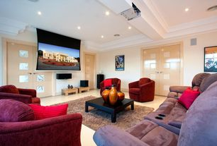 Modern Home Theater with Exposed beam, can lights, Glass panel door, Standard height, Concrete floors