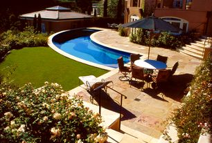 Mediterranean Swimming Pool with French doors, exterior stone floors, Arched window, Pathway