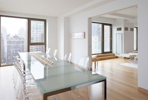 Contemporary Dining Room with Kartell Louis Ghost Arm Chair, Vintage Millworks Ginger Handscraped Engineered Hardwood