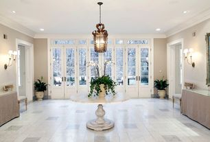Traditional Entryway with Concrete tile , French doors, can lights, Transom window, Wall sconce, flush light, picture window
