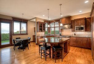 Traditional Kitchen with Casement, French doors, U-shaped, built-in microwave, Simple granite counters, Breakfast nook, Flush