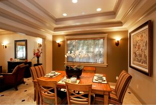 Traditional Dining Room with Crown molding, slate floors, Wall sconce, High ceiling