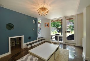 Contemporary Playroom with Chandelier, Casement, travertine floors, French doors, Standard height