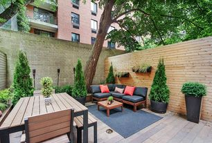 Contemporary Patio with Outdoor seating/dining, Raised beds, Fence