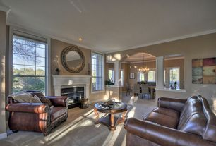 Traditional Living Room with Lazzaro Leather Leather Sofa, Crown molding, Carpet, Cooper Classics Hewitt Mirror