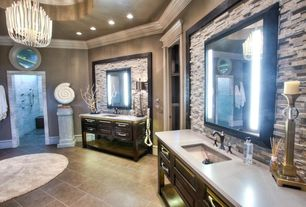 Contemporary Master Bathroom with Console sink, Transom window, Master bathroom, Paint, full backsplash, Wall sconce, Shower