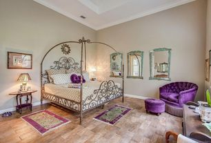 Eclectic Master Bedroom with Crown molding, Hardwood floors, Wall sconce