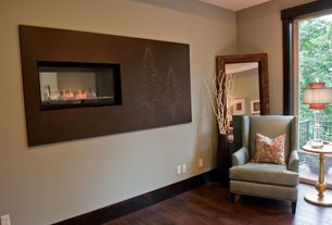 Contemporary Master Bedroom with Standard height, Fireplace, Mural, Balcony, Hardwood floors, insert fireplace