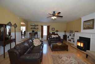 Traditional Living Room with Wainscotting, Fireplace, double-hung window, metal fireplace, Ceiling fan, Standard height