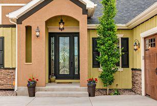 Eclectic Front Door with specialty window, Pathway, exterior tile floors, exterior concrete tile floors, Stained glass window