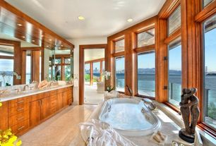 Modern Master Bathroom with European Cabinets, DanyaB Couple Caress Figurine, Built-in bookshelf, Jetted, Master bathroom